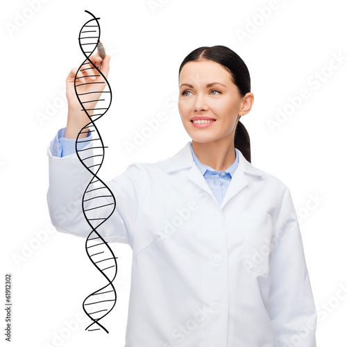 female doctor drawing dna molecule in the air