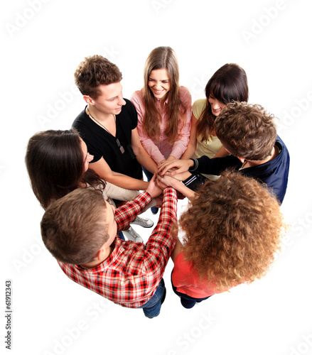 Pile of hands - Successful business team celebrating success