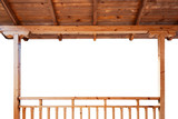 Wooden porch roof and railings isolated on white background