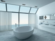 Modern luxury bathroom interior with white bathtub