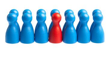 Support queue line concept, pawn figures