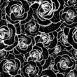 Seamless black and white background with roses