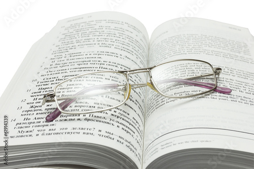 Open Bible and glasses