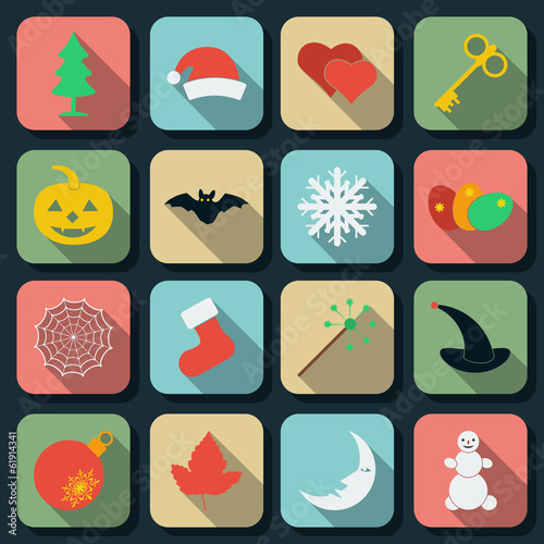 Holidays flat vector icons