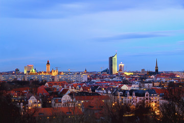 Leipzig Skyline am Abend