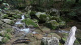 Water flows between stones in wild nature, small mountain river