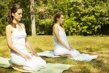 Two beautiful young women doing yoga class in nature