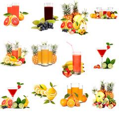 Collage di frutta e aperitivi