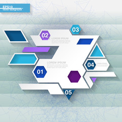 Blue and white infographic template with hexagons. Eps10
