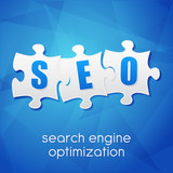 SEO in puzzle, search engine optimization, flat design