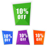 10 percentages off, four colors labels