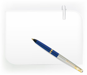 Sheet of paper with a paper clip and pen