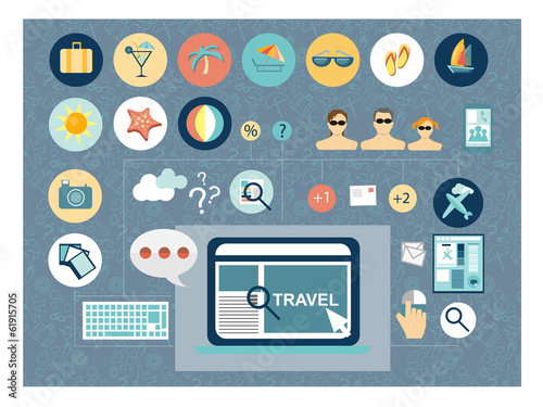 Travel planing concept flat design
