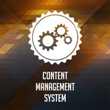 Content Management System on Triangle Background.