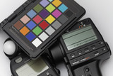 Spot meter, flash meter and test target for professional photogr
