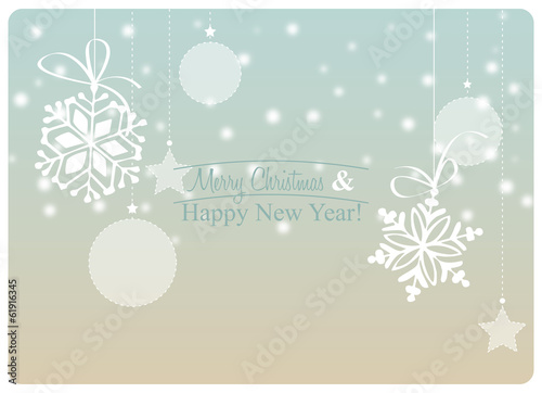greeting card with christmas decorations and snowfall