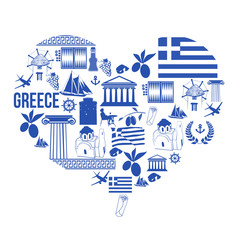 Heart shape with Greece symbols