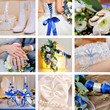 collage of nine wedding photos in blue