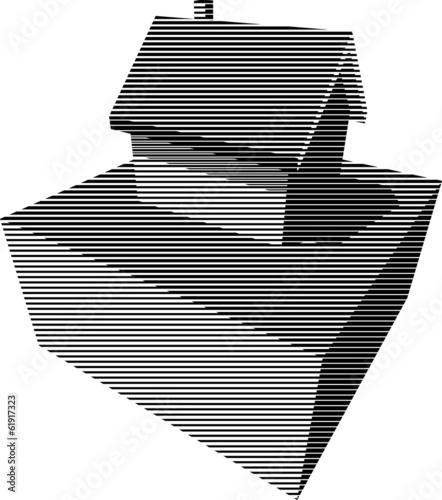 Black and white graphic diagram in form of a detached house