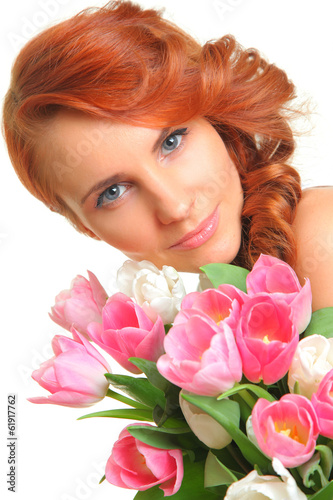 portrait with tulips