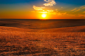 Flint Hills of Kansas Sunset