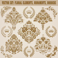 Set of vector damask ornaments.