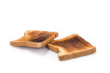 two pieces of Burnt Toast  Clipping path included