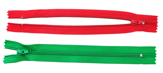 Two zipper red and green isolated on white