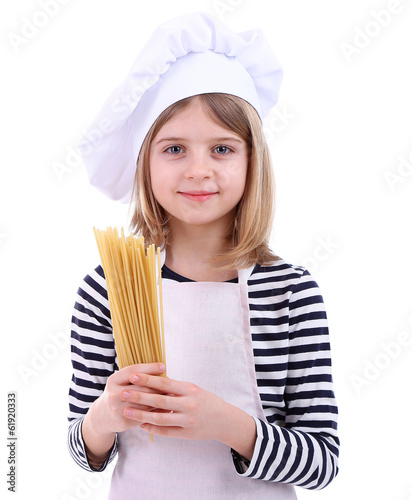 Beautiful little girl holding spaghetti isolated on white