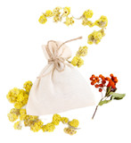 Textile sachet pouch with dried flowers, herbs  and berries,