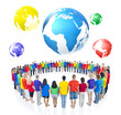 Large Group Multiethnic World People Standing with World Map