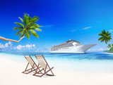 3D Cruise Ship by Tropical Beach with Chairs