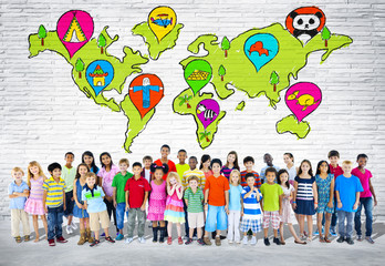 Diverse Colorful Multi-ethnic Children with World Map