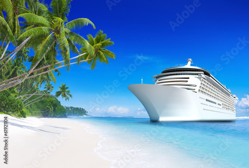 Fotobehang Oceanië 3D Cruise Ship by Tropical Beach