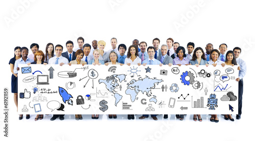 Diverse Business People Holding Banner with Infographic
