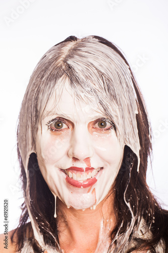 Woman with messy milk face