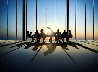 Silhouette of Business at Conference Table