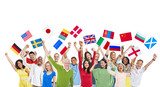 People from Different Countries Holding National Flags