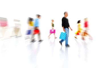 Group of Colorful Multi-Ethnic People Walking with Shopping Bag