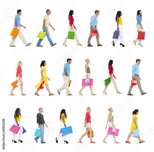Group of Multi-Ethnic People Walking Forward with Shopping Bags
