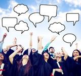 Graduates Arms Raised with Speech Bubbles