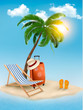 Travel background with tropical island. Summer vacation concept