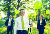 Group of Business People Holding Balloons