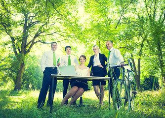 Green Business Team in Nature