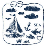 Sea themed handprinted elements - boat, clouds, fishes, anchor