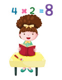 cute girl studying mathematics