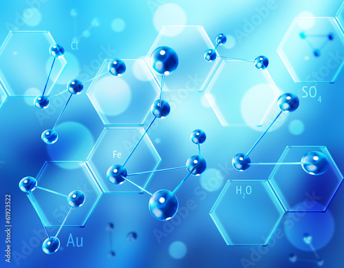 Chemistry science formula and molecules background.