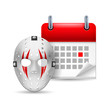 Hockey mask and calendar