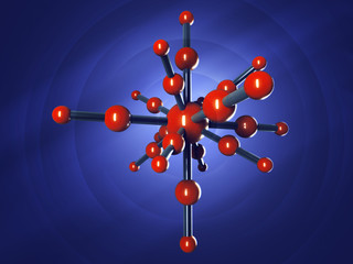 Model of graphite molecular structure on blue