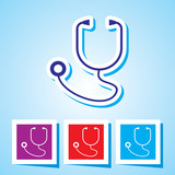 Colourful editable icon of Medical equipment. Stethoscope